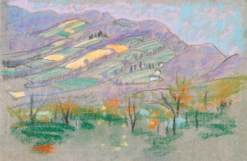Obra de Arte - Paisaje con montañas de color púrpura de A. B. libro ...