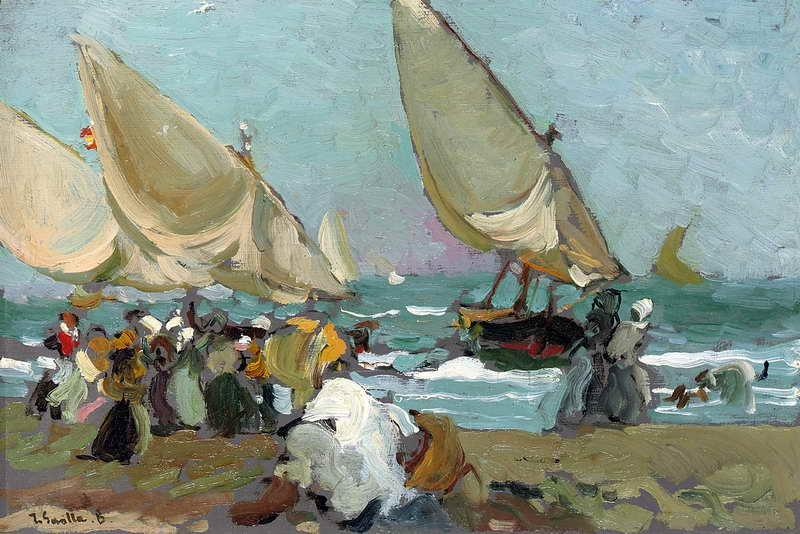 Obra de arte barcas en la playa de valencia joaqu n - Galeria de arte sorolla ...