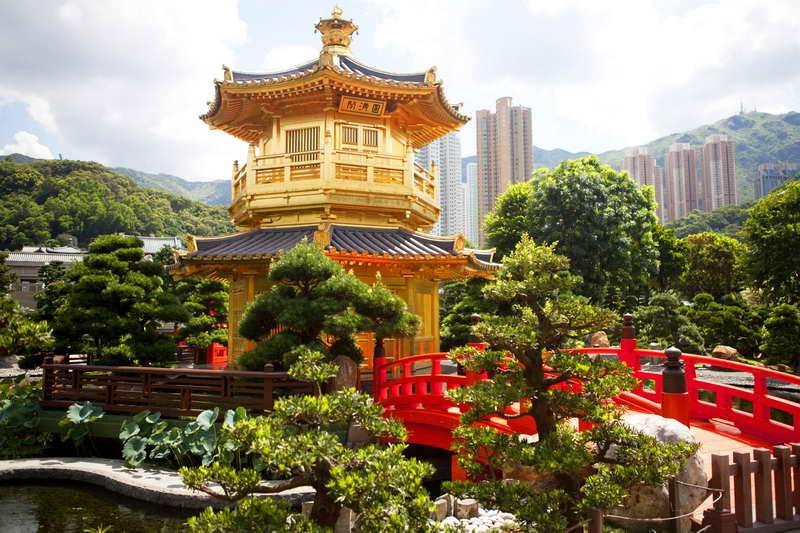 Cuadro en lienzo con bastidor jard n nan lian de hong kong for Jardin hong kong