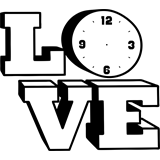 Reloj en vinilo decorativo love