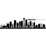 Vinilo decorativo skyline ciudad de Seattle