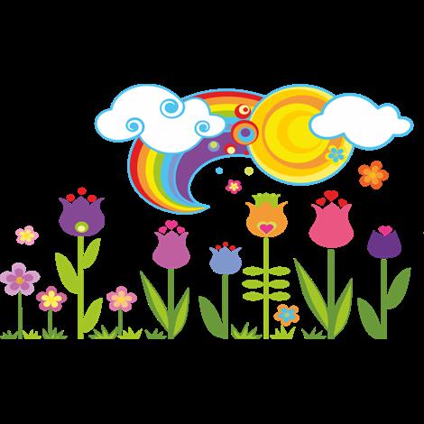 Vinilo Decorativo Floral Con Sol Nubes Y Arcoíris