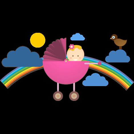 El arcoiris se impone a las nubes en este kit de pegatinas for Vinilos para ninos bebes