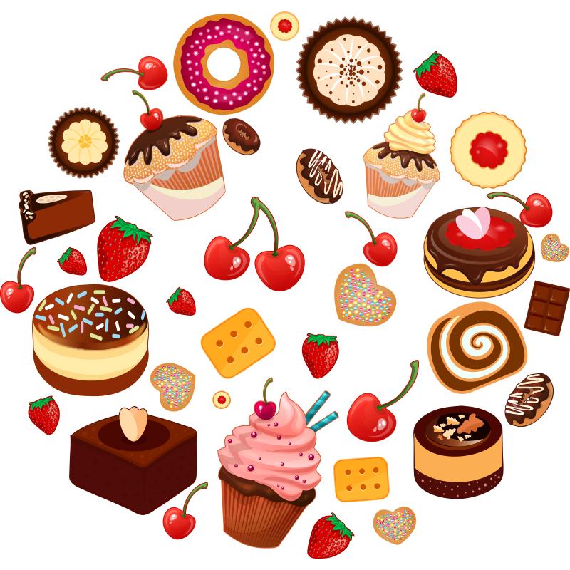 Am am este kit de pegatinas decorativas de pasteles pastas dulces y p - Pegatinas para cocina ...
