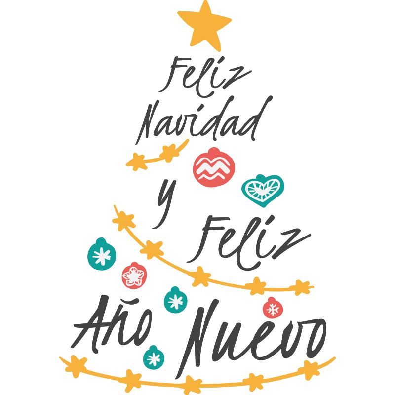 En este vinilo decorativo el mensaje de feliz navidad y feliz a o nuevo fo - Arbol navidad moderno ...