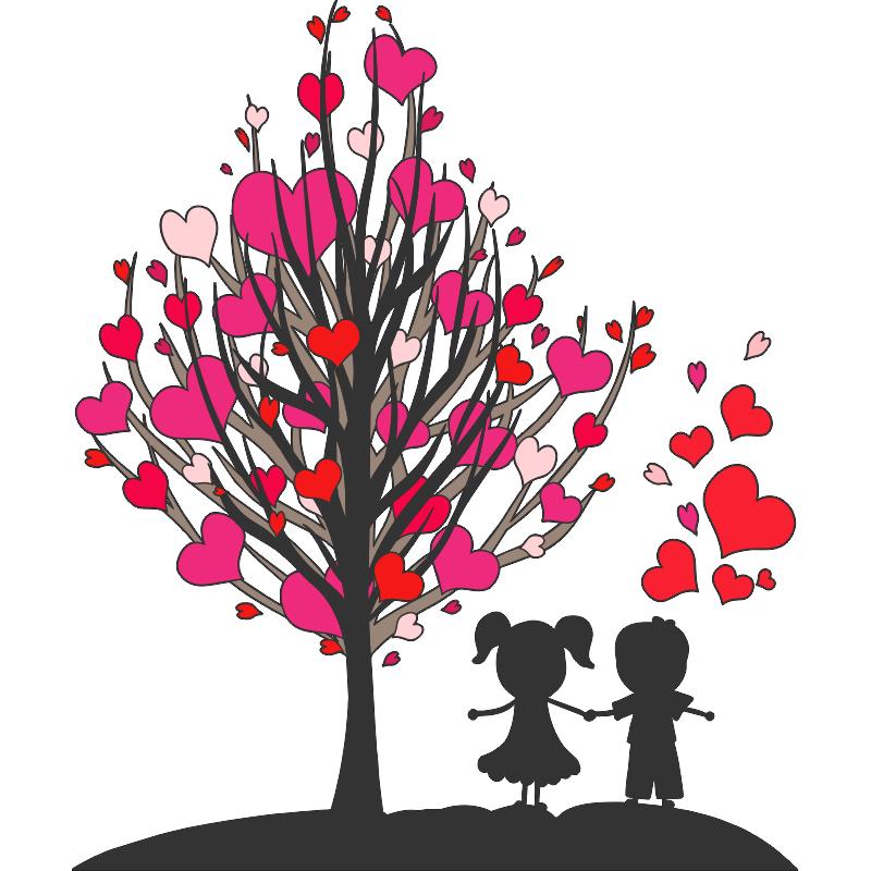 Dos ni os enamorados pasean bajo un rbol con hojas en for Donde conseguir vinilos decorativos