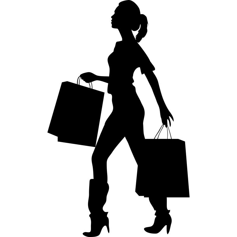 Vinilo decorativo silueta mujer paseando con bolsas