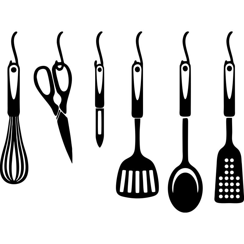 Decora tu cocina con esta sticker de distintos utensilios for Utensilios de cocina para zurdos