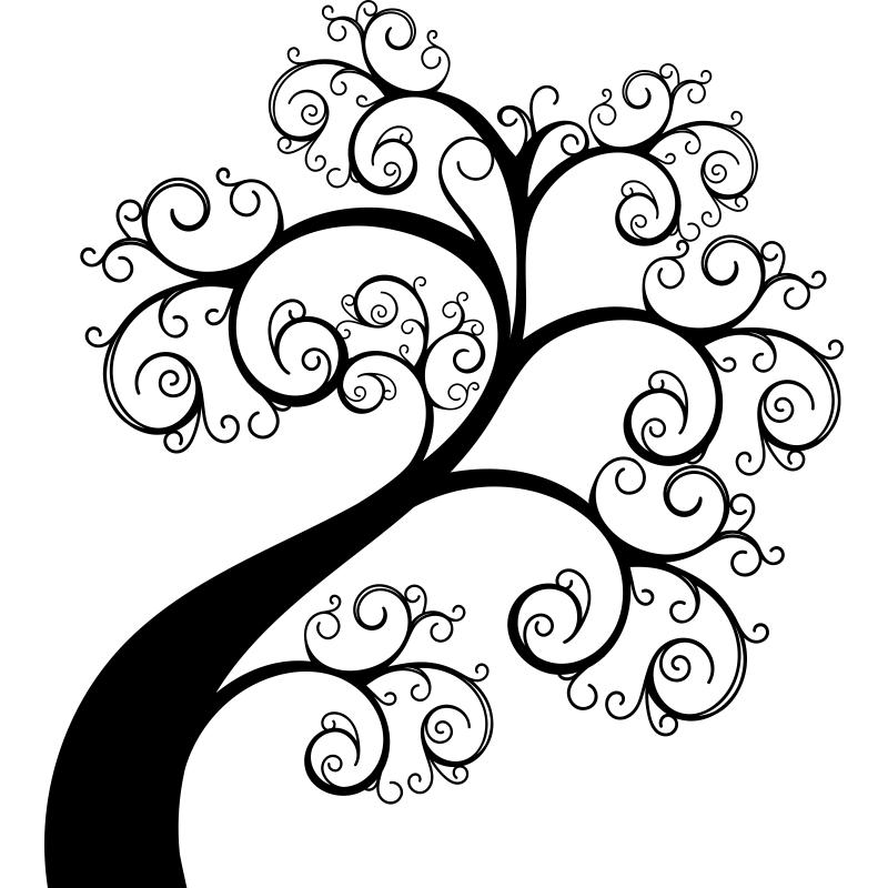 Vinilo decorativo arbolito con ramitas circulares onduladas - Vinilos decorativos arboles ...