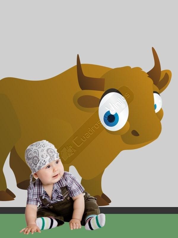 Vinilo decorativo infantil de un espectacular bisonte que for Vinilos infantiles gigantes