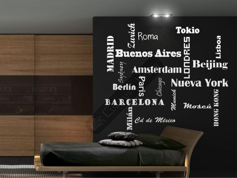 Decora tu hogar con este vinilo de los nombres de tus ciudades favoritas e - Vinilos decorativos textos ...