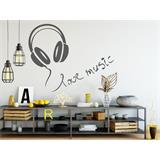 Vinilo decorativo  Auriculares love music