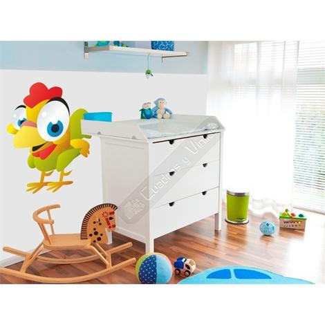Vinilo decorativo infantil gallito de colores