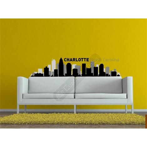 Vinilo decorativo skyline ciudad de North Caroline